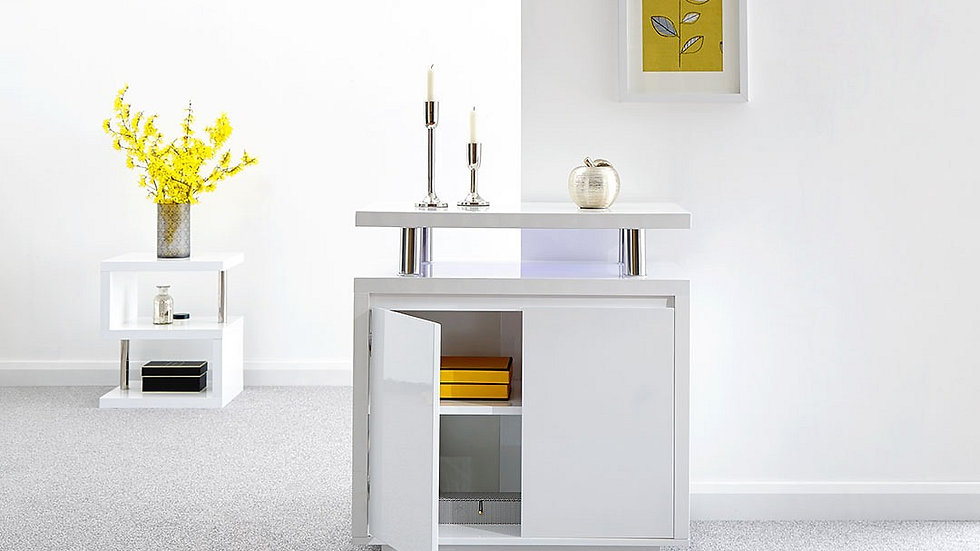 NEW Futuristic High Gloss White LED 2 Door Sideboard