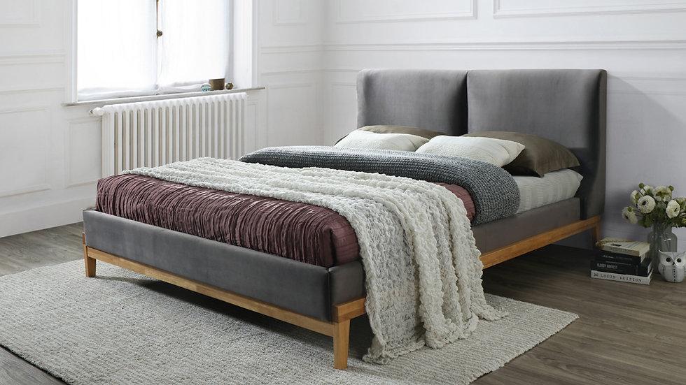 Minimalistic Design Sorrento Grey Fabric King Size Bed
