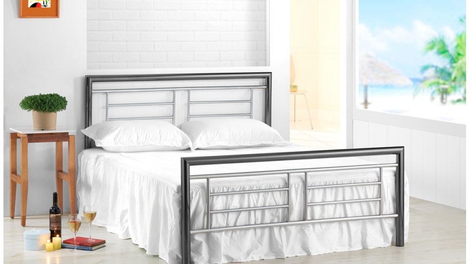 Montana Contemporary Design Bed With Stunning Chrome And Nickel Finish 4ft6 5ft