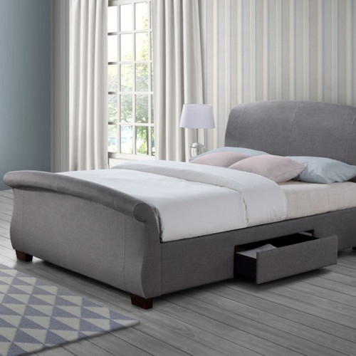 barcelona fabric sleigh bed with drawer storage - Fabric Bed Frames