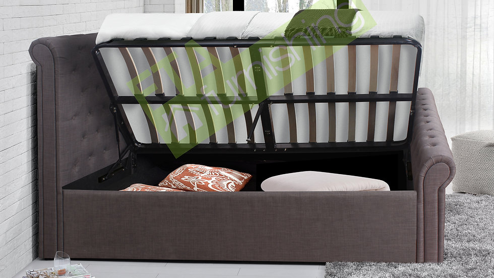 4FT6 5FT Contemporary Grey Ottoman Storage Side Lift Sleigh Bed