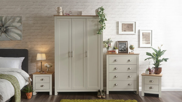 NEW Elegant Lancaster 4 piece Wooden Furniture Set in Cream or Grey