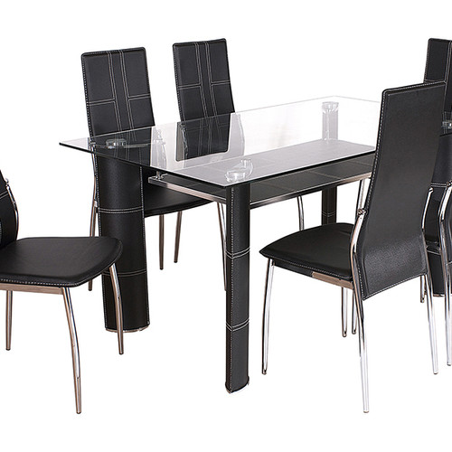 Glass Top Dining Table 6 Contrast Stitch Chairs