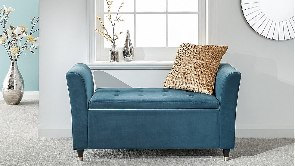 The Elegant Genoa Storage Window Seat available in Teal, Russet & Pink