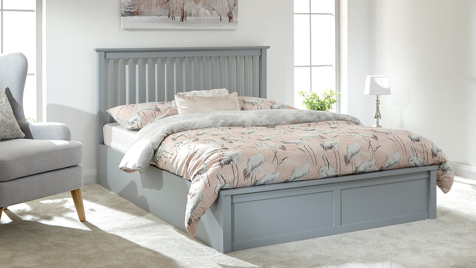 Como Wooden End Lift Ottoman Bed Available In White Or Grey
