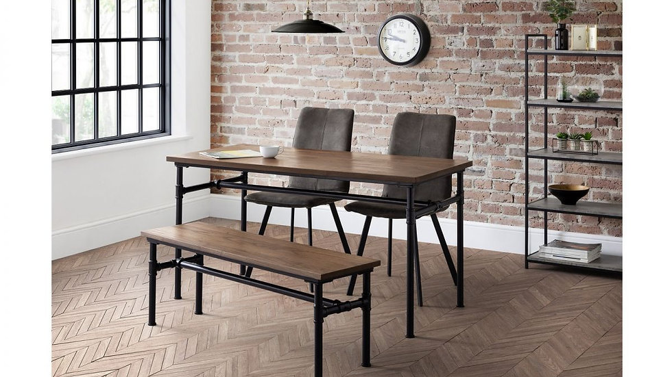Industrial Carnegie Dining Table with Bench & 2 Monroe Grey Fabric Chairs
