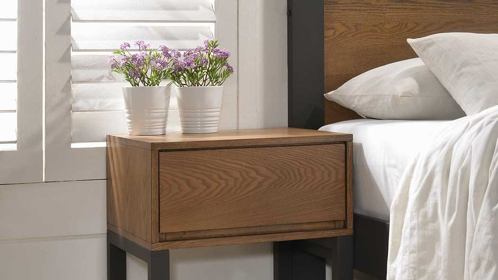 Olivia Industrial Inspired Charcoal Painted Wooden Bedside Table