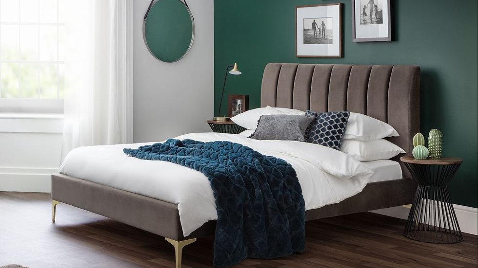 New Timeless Upholstered Charcoal Grey Velvet Scalloped Deco Bedstead