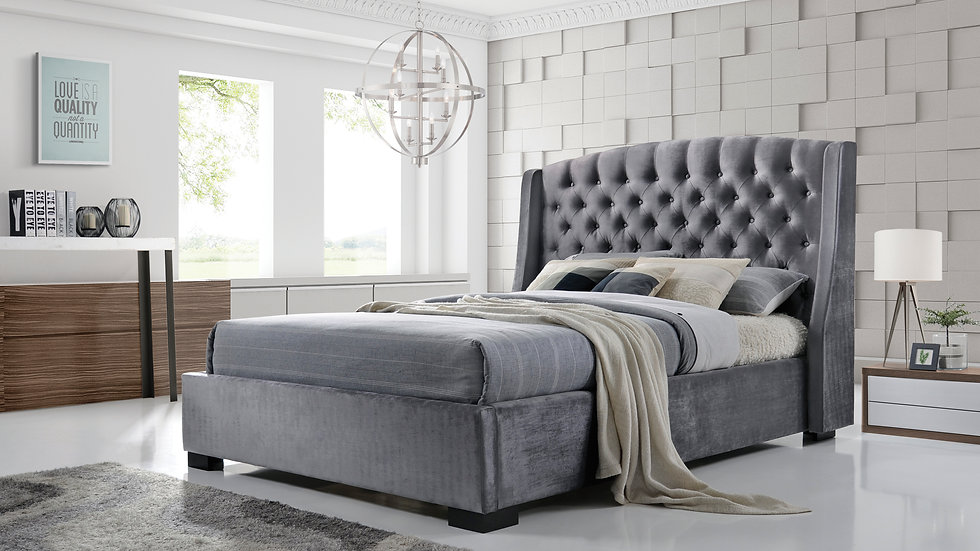 Luxury Grey Velvet Chesterfield Inspired Fabric Bed Double Or King