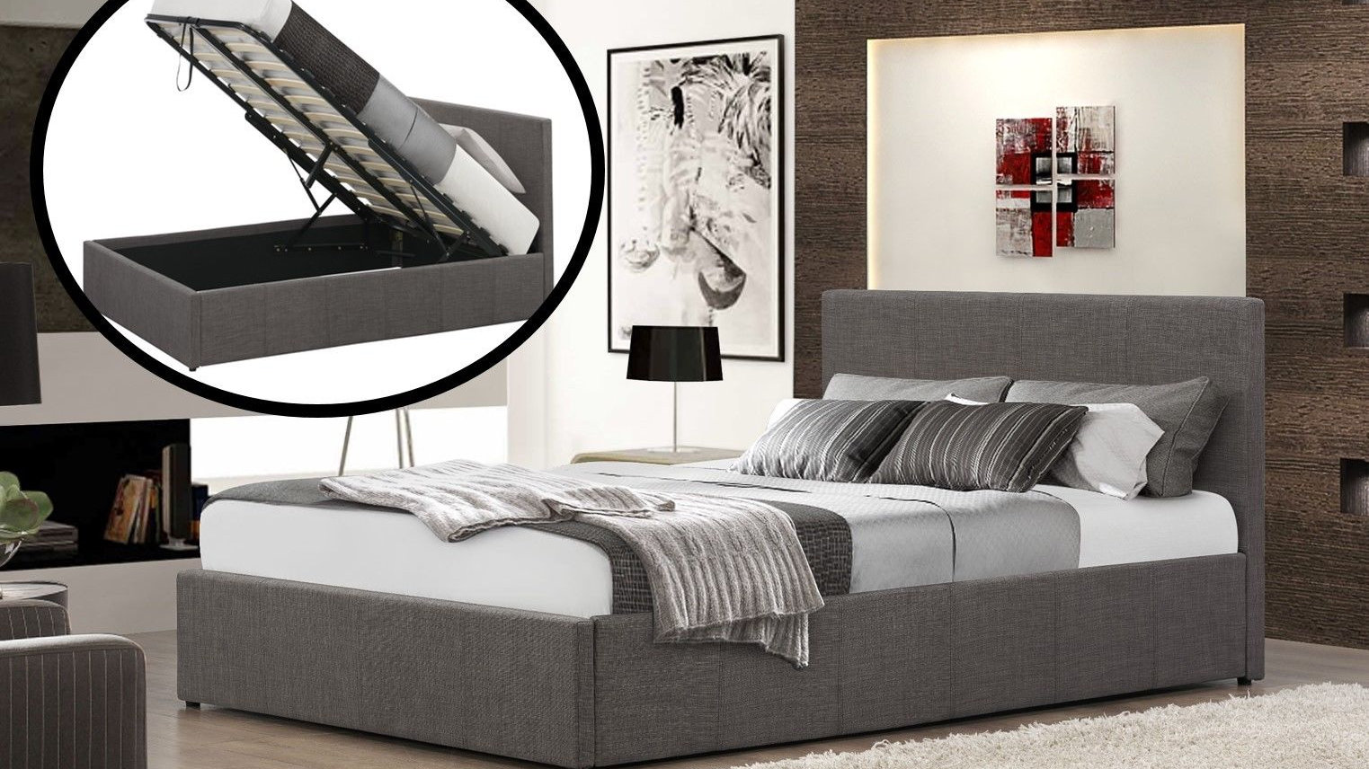 Tremendous King Size Grey Fabric Gas Lift Ottoman Bed On Sale Now Ibusinesslaw Wood Chair Design Ideas Ibusinesslaworg