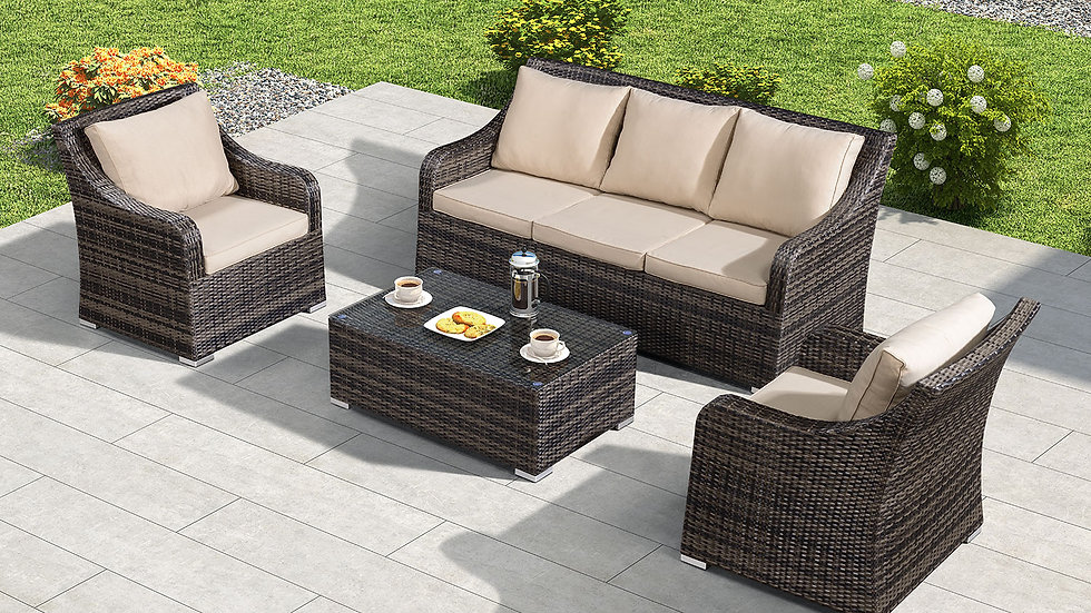 Luxury Three Seat Rattan Garden Sofa Set with Table in Brown or Grey