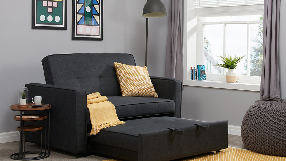Modern Grey Fabric Sofa Bed Contemporary Retro Buttoned Design 2 Seater