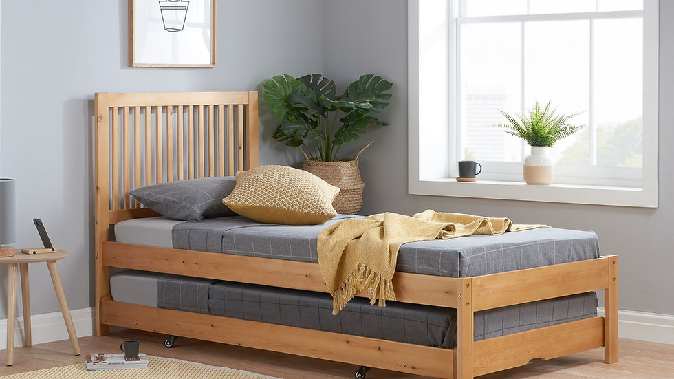 3ft Single Slatted Wooden Guest Bed in Honey Pine with Wheeled Pull Out Trundle