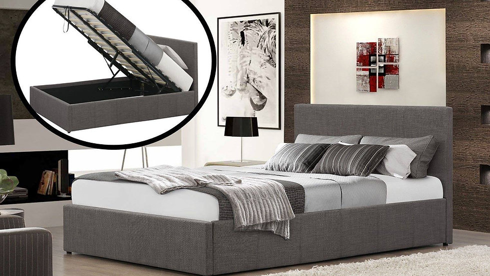 Grey Hopsack Fabric Ottoman Bed Various Sizes