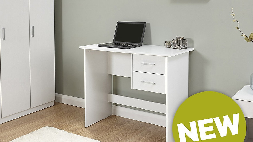 Contemporary 2 Drawer Desk In Fashionable White Finish - Modern Furniture