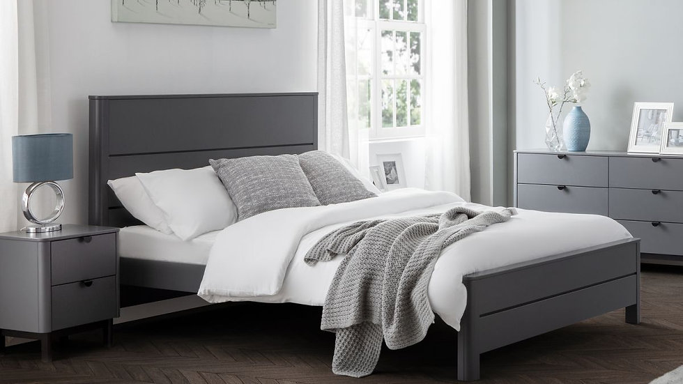 Luxury Storm Grey Bed 4ft6 5ft with Bedroom Set Chests Bedside Wardrobe Options
