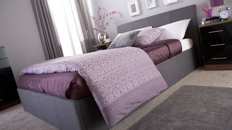 Ascot Fabric End Lift Ottoman Bed Available In Grey