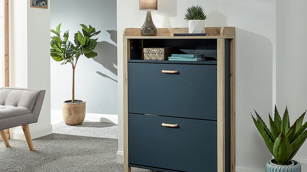 Stylish Berwick Open Top Shoe Cabinet available in Blue, Grey & White