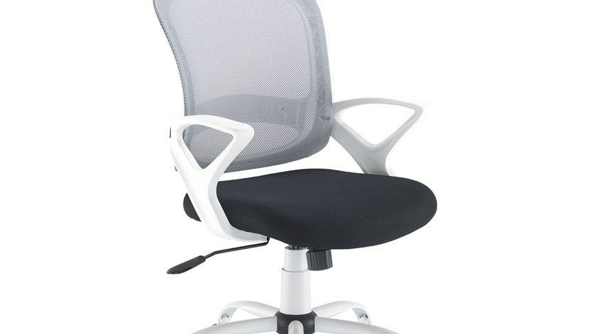 Ergonomic Office Chair White Frame With Mesh Back Fixed Arms Operator Task Seat