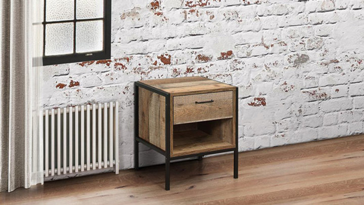 Urban Industrial Inspired 1 Drawer Bedside Table