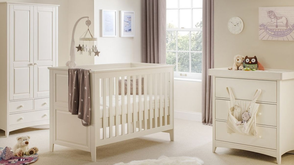 New Cameo Stone White Cot Bed & Nursery Furniture Range