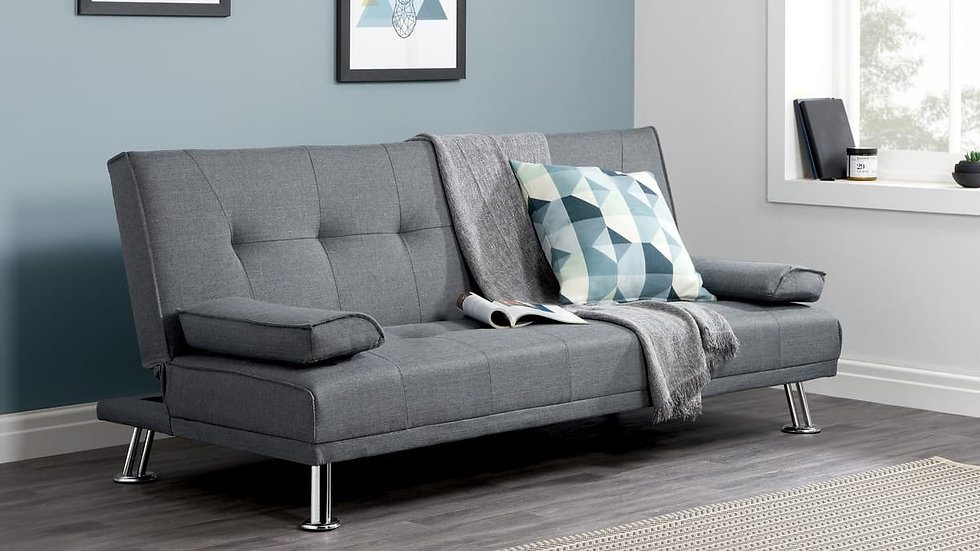 Stylish Grey Fabric Tufted Sofa Bed Removable Arm Rests High Quality