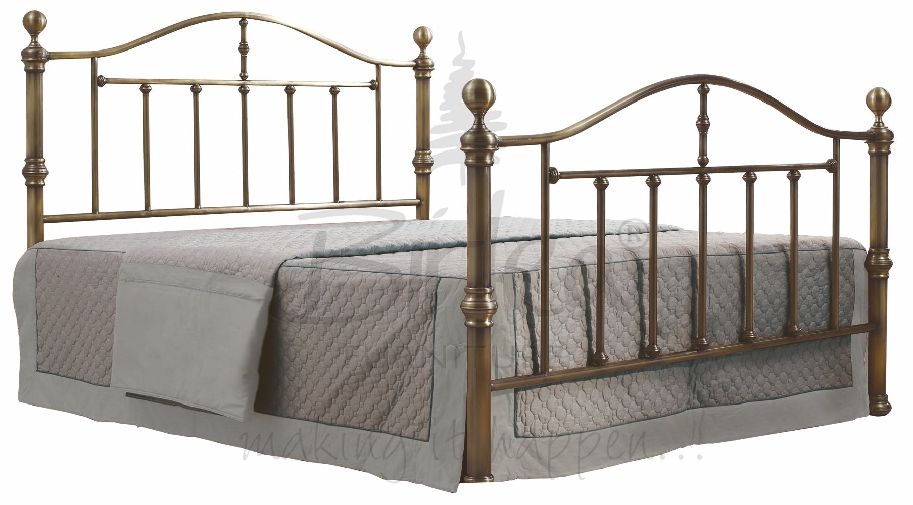 Birlea Victoria Nickel & Antik Messing Traditionell Metall Bett in ...