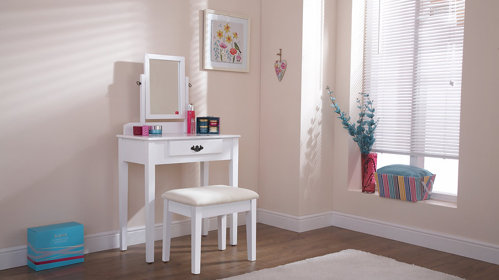 Contemporary Shaker Style White Painted Dressing Table Set with Mirror and Stool