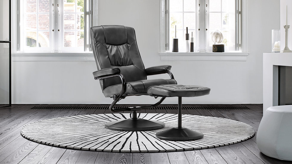 Stylish and Practical Office Swivel Chair With Footstool In Black or Tan Faux