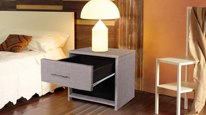 Stylish Grey Fabric Bedside Table One Drawer