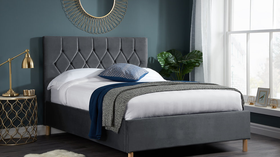 NEW Luxurious Grey Loxley Ottoman Bedframe available in 4FT6