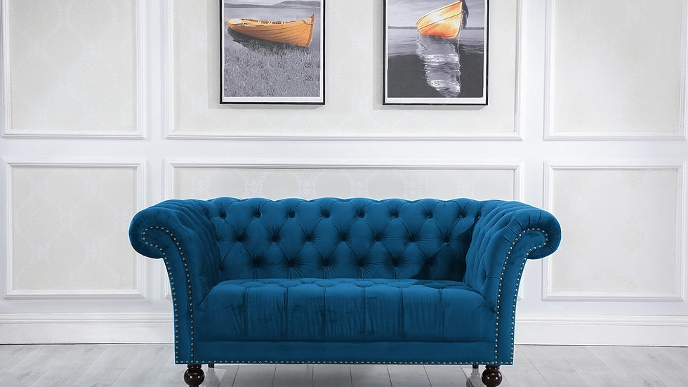 Stunning Fabric Chesterfield Sofa 2 Seater 3 Seater Blue or Grey