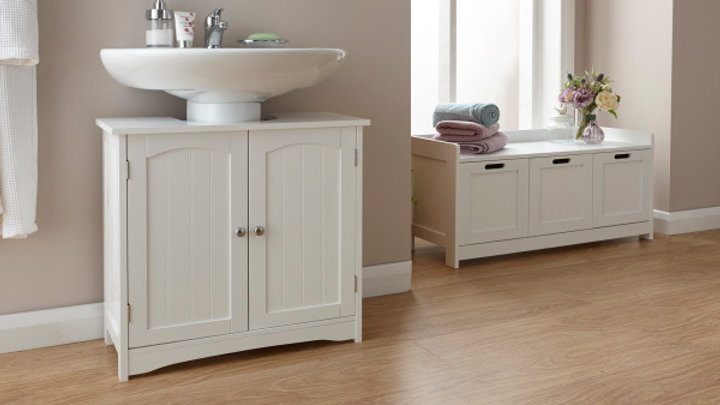 Modern Shaker Style Underbasin Wooden Bathroom Unit White or Grey
