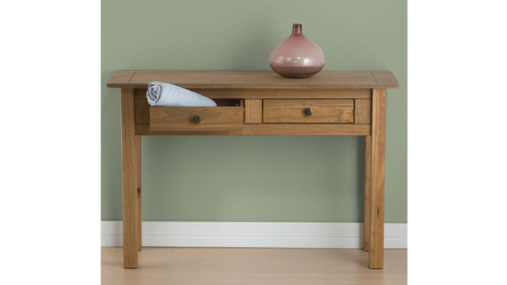 New Rustic Oak 2 Drawer Console Table