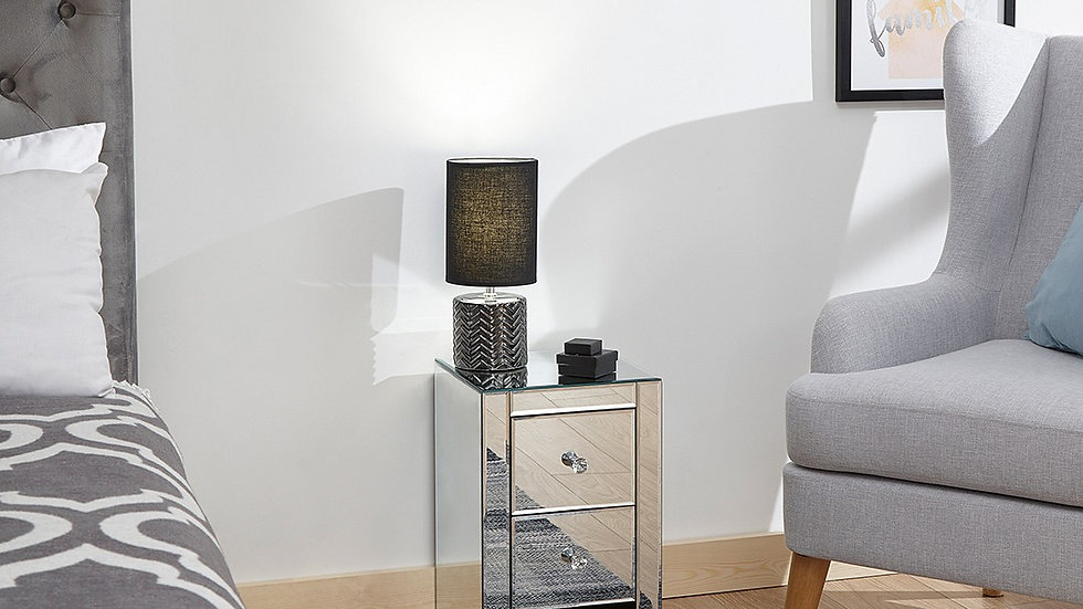 New Stunning Mirrored Slim Chest 2 Or 3 Drawer with Crystal Handles