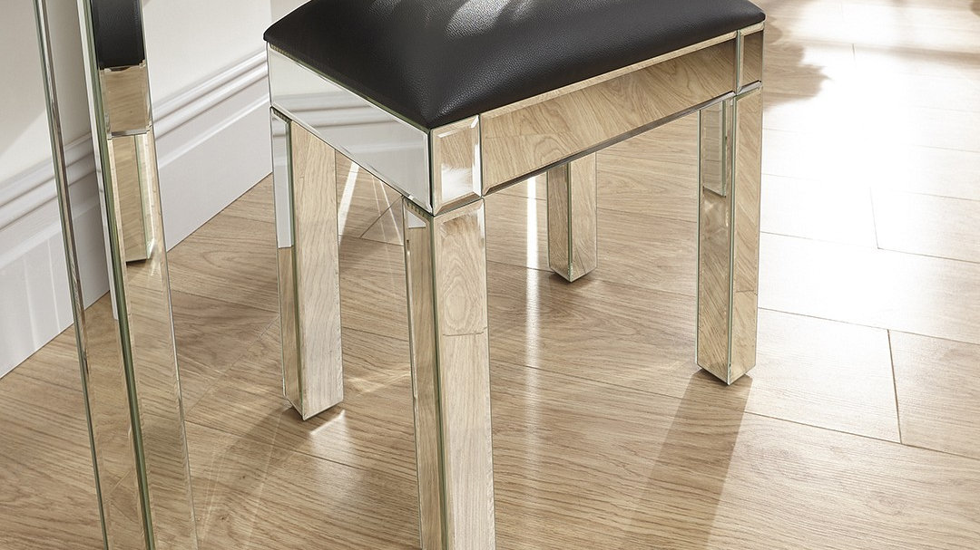 stunning mirrored finished 2 drawer dressing table stool. Black Bedroom Furniture Sets. Home Design Ideas