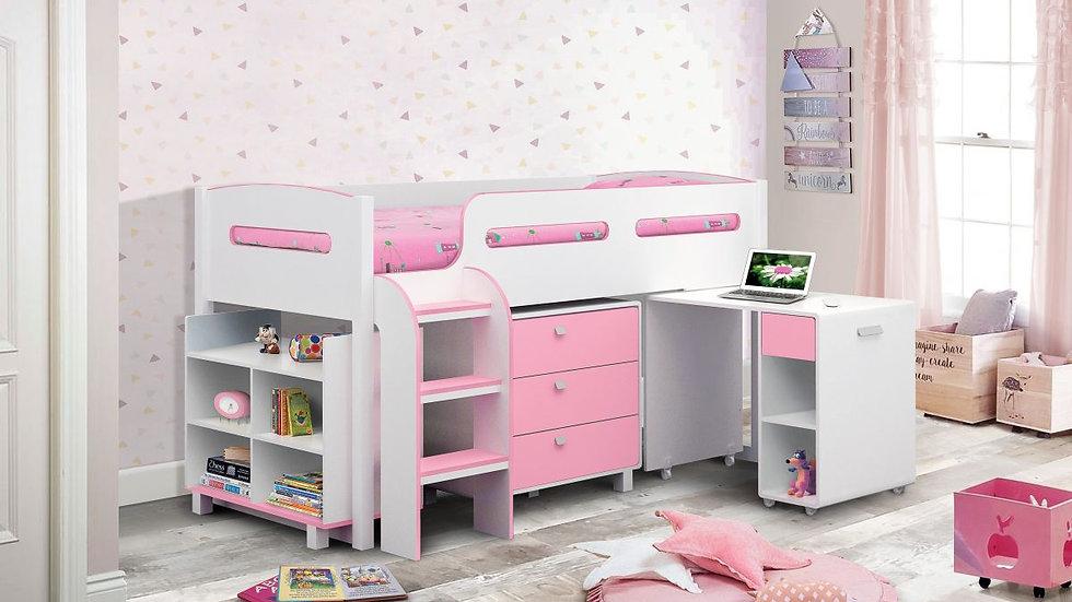 Child Teenager Cabin Bed Blue or Pink Shelving Unit Pull-Out Desk Drawers Ladder