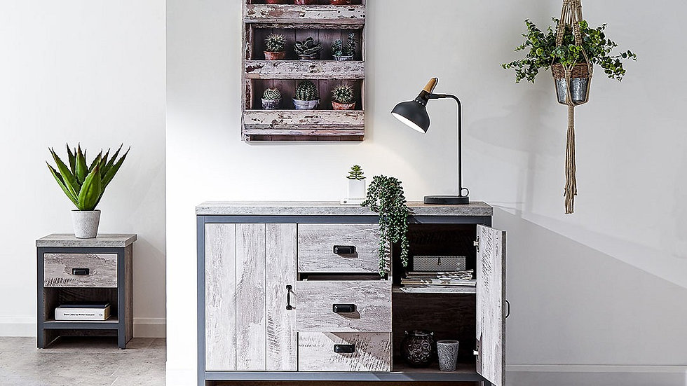 Urban Chic Industrial Inspired Wood-Effect Grey Living Room Range