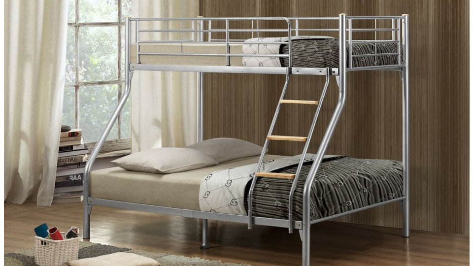 Nexus Creative Trio-Sleeper Bunk Bed In Silver 4ft6/3ft Bunks Mattress Options