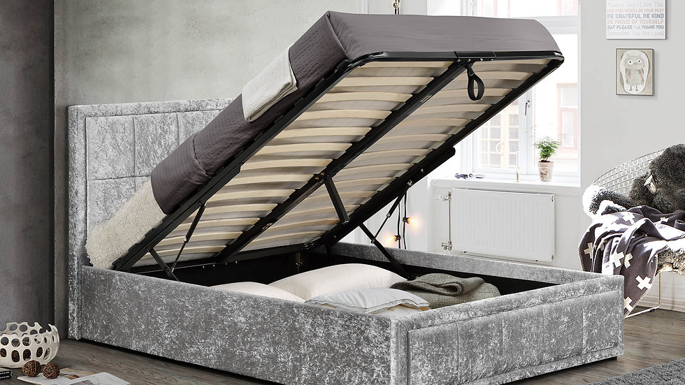 Contemporary Cubic Design Ottoman Bed 4ft 4ft6 Grey Fabric Crushed Velvet Silver