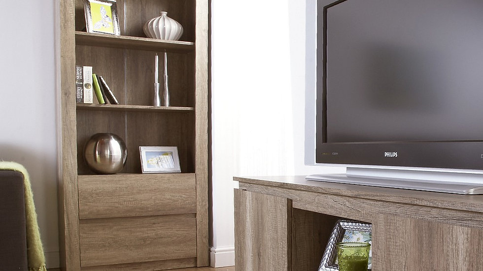 Textured Finish Bookcase With 3 Deep Shelves and 2 Bottom Drawers