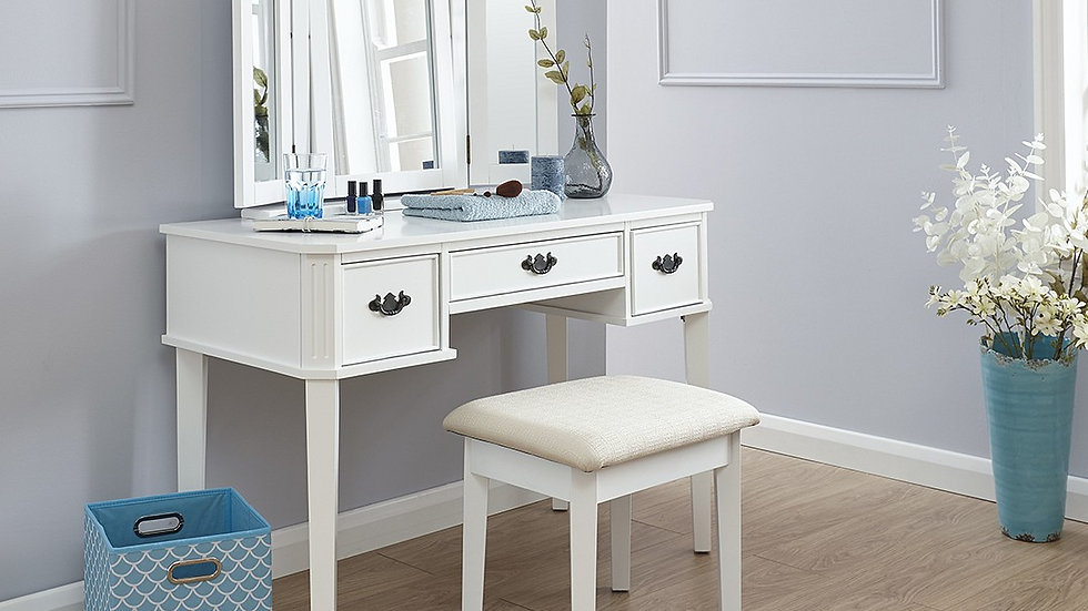 Traditional Elegant Dressing Table & Stool Set In White or Grey