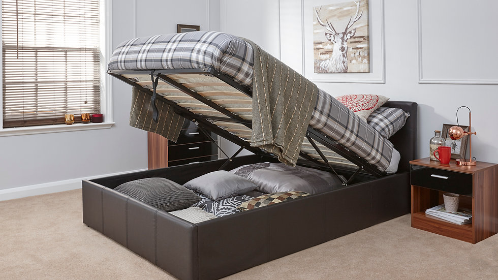 Luxury Faux Leather Gas Lift Storage Bed Available In 4FT6 Brown