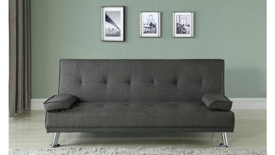 Stylish Grey Polyester Fabric Sofa Bed Simplistic Versatile