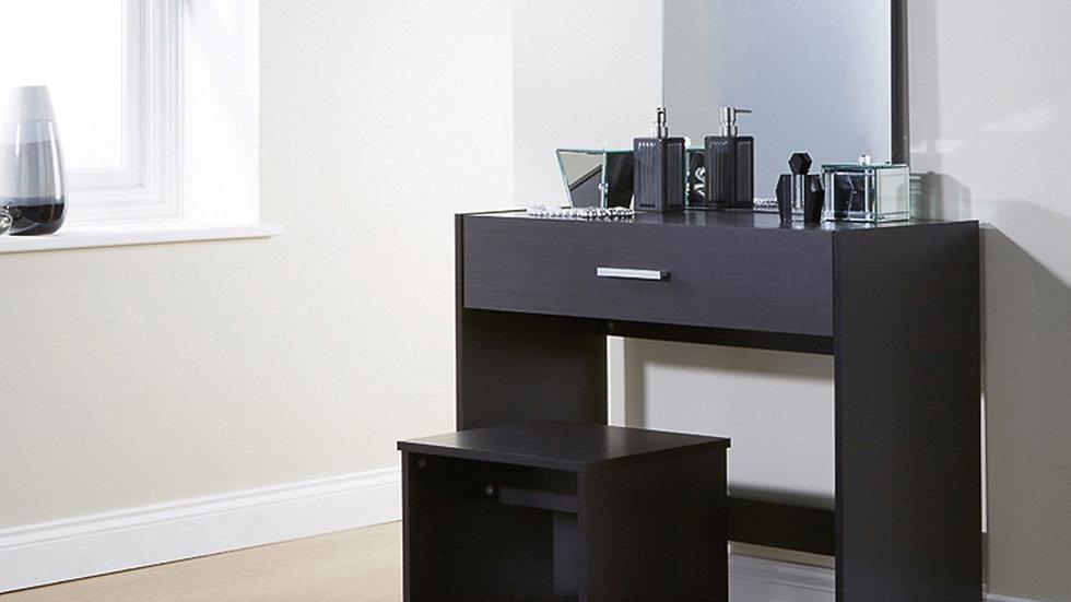 Julia Modern Styled Dresser With Stool White Oak Espresso Sleek Space Saver