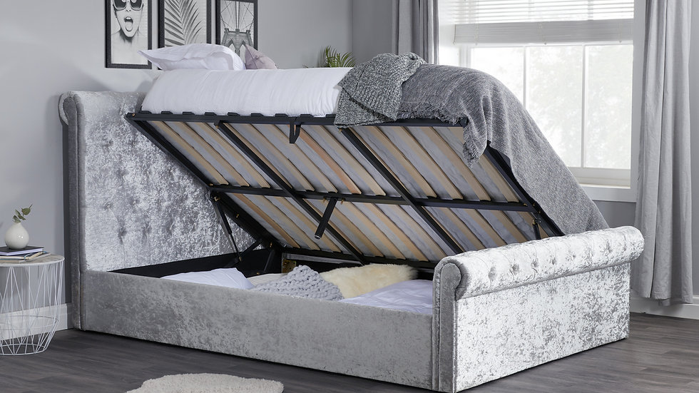 New Sienna Crushed Velvet Luxury Fabric Sleigh Bed With or Without Storage