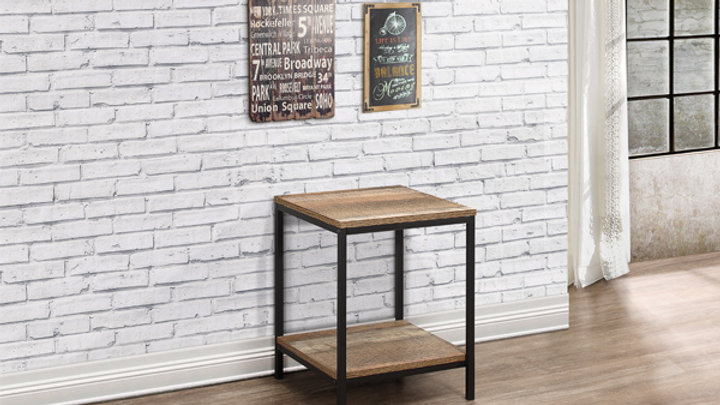 The Urban Industrial Wood Effect Lamp Table