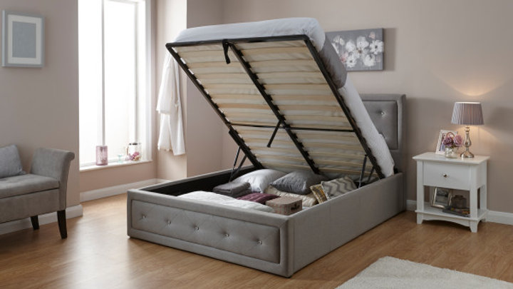 Diamante Deep-buttoned Stone Grey Hopsack Fabric Ottoman Bed