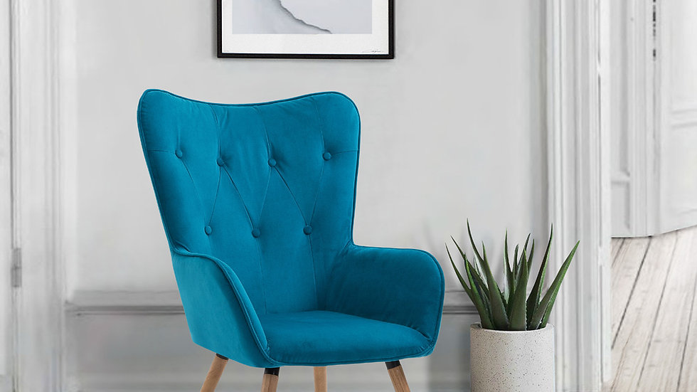 Retro Inspired Button Back Willow Armchair In Midnight Blue And Sapphire