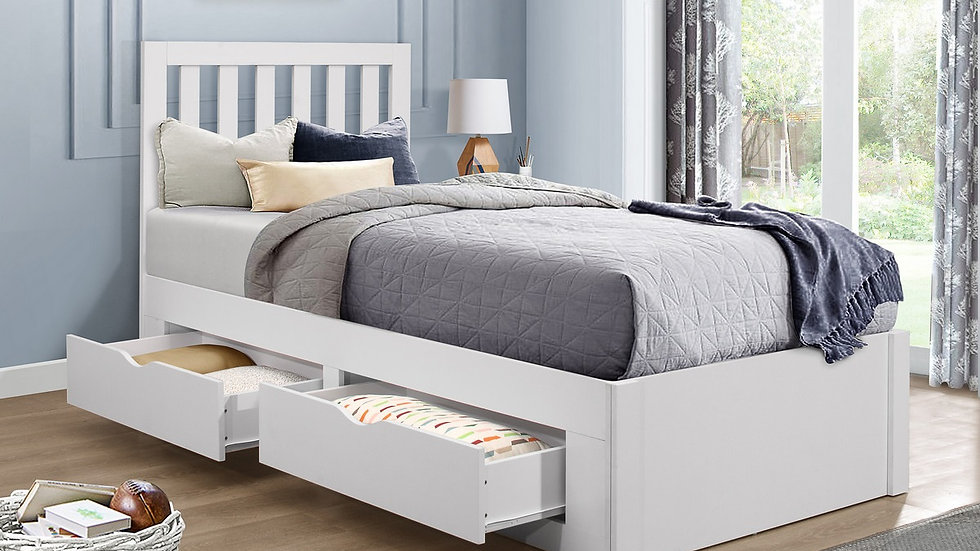 NEW Children's White Wooden 3ft Single Bedframe with Storage Drawers